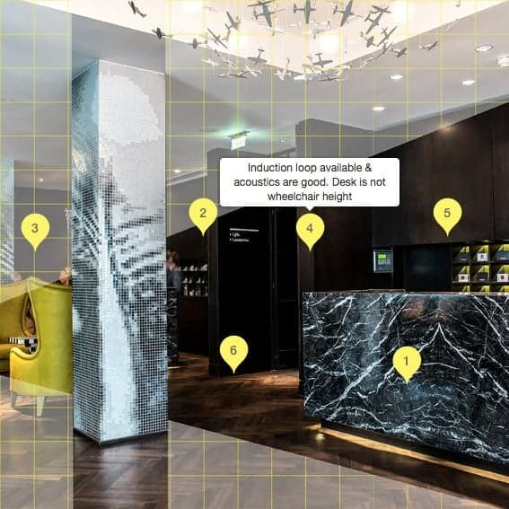 The Access Gallery at South place Hotel Shows Facilities & Potential Obstacles Through Pointers. Made Up of a Series of Images Depicting the Journey Through The Hotel