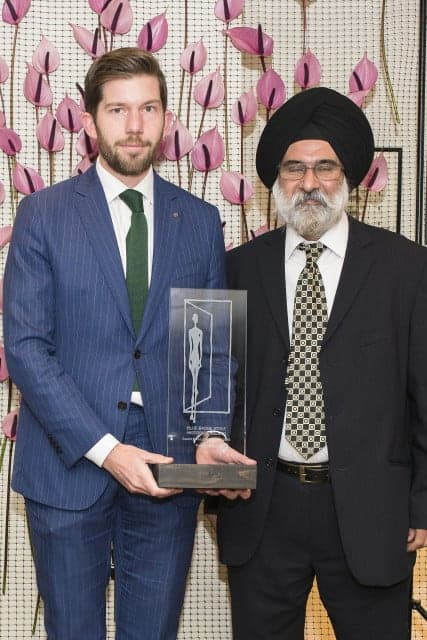 Oliver Milne-Watson, F&B Manager The Beaumont Hotel, Accepting Award For Best Venue In A Listed Building, From Sukhvinder Singh Of Historic England