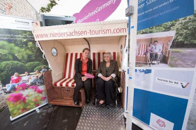 First Accessible Strandkorb (Beach Chair). Donated To Revitalise Respite Residence, Netley Waterside House, Southampton. British Weather Didn't Let Us Down & Strandkorb Proved It's Worth.