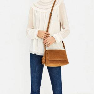 Real Suede Cross Body From Zara Holds Everything While Your Hands Are Occupied With Stick or Wheel