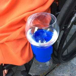 BBS DRINK Glass Holder in Action - 1st in a Series of Accessories for Wheelchairs/Scooters/Rollators/Baby Buggies etc.