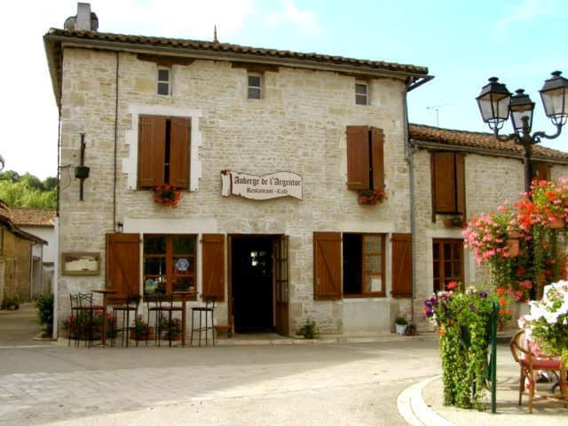 Auberge de Argentor. The outdoor dining area is across the road from the main restaurant