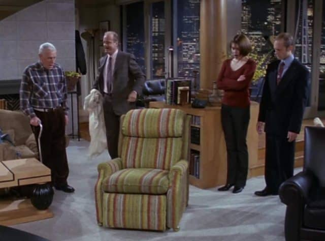 Frasier, TV Series, & the Continued Joke About The 'Style' of His Recliner