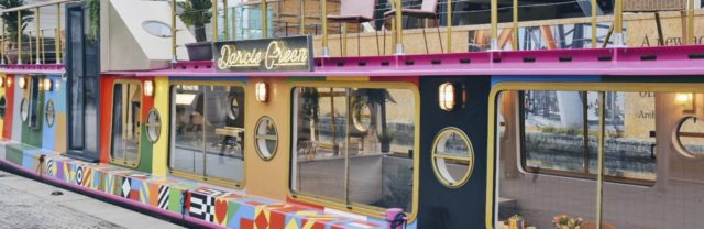 Darcie and May Green, Restaurant and Bar on Barges Designed by Sir Peter Blake