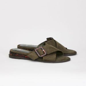 Evan's Extra Wide Fit Khaki Cross Over Mule £35.00