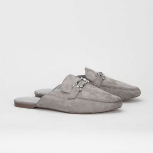 Evan's Extra Wide Fit Grey Snaffle Pointed Mules £30