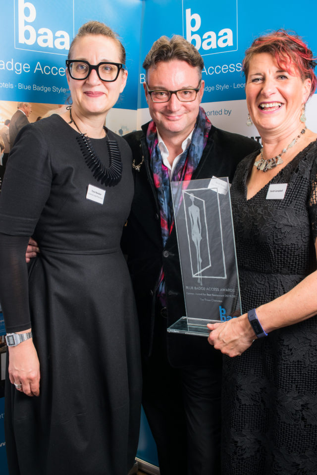 Scott Ross & Sarah Campbell Receiving Their Conran Best Restaurant Award From Tina Norden, Director at Conran and Partners
