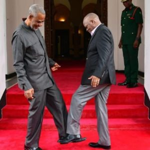 Even Politicians are Foot Shaking to Avoid the Virus - Tanzanian President John Magufuli (right) greets opposition politician Maalim Seif Sharif Hamad (left) by tapping their feet together Tanzanian President John Magufuli (right) greets opposition politician Maalim Seif Sharif Hamad (left) by tapping their feet together