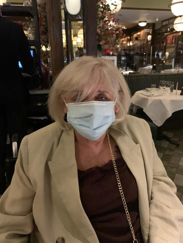 Me, Masked & Ready For My Food at The Ivy Kensington